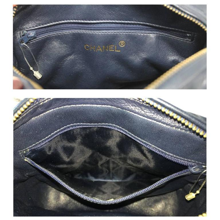 Chanel Navy Matelasse Tassel Lambskin GHW Shoulder Bag w/ Dust Bag For Sale 3