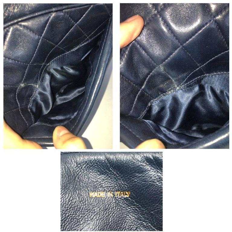 Chanel Navy Matelasse Tassel Lambskin GHW Shoulder Bag w/ Dust Bag For Sale 2