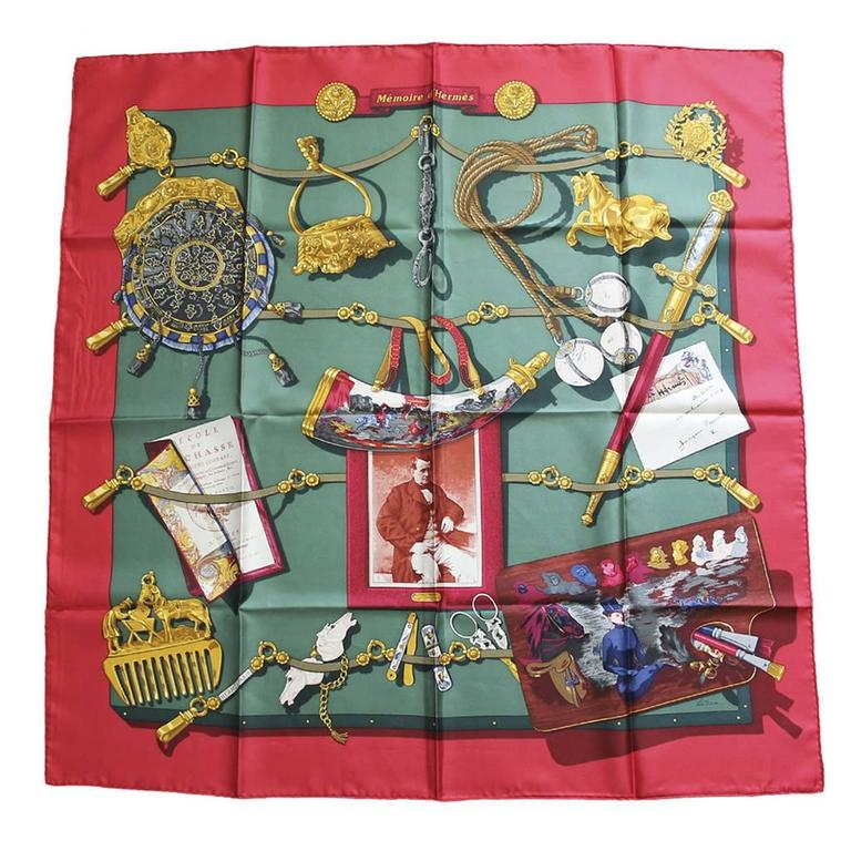 Hermes 100% Silk Memoire d'Hermes Red/Green/Gold Scarf