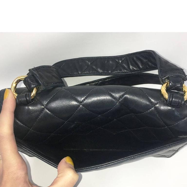 Chanel Black Lambskin Quilted Crossbody Vintage Bag with Quilted Leather Strap 6