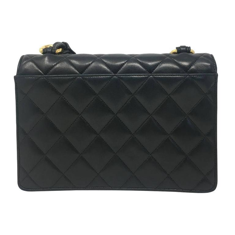 Chanel Black Lambskin Quilted Crossbody Vintage Bag with Quilted Leather Strap 2