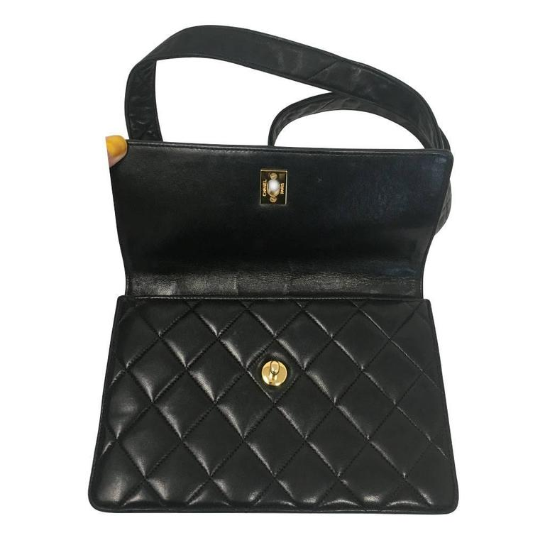 Chanel Black Lambskin Quilted Crossbody Vintage Bag with Quilted Leather Strap For Sale 1