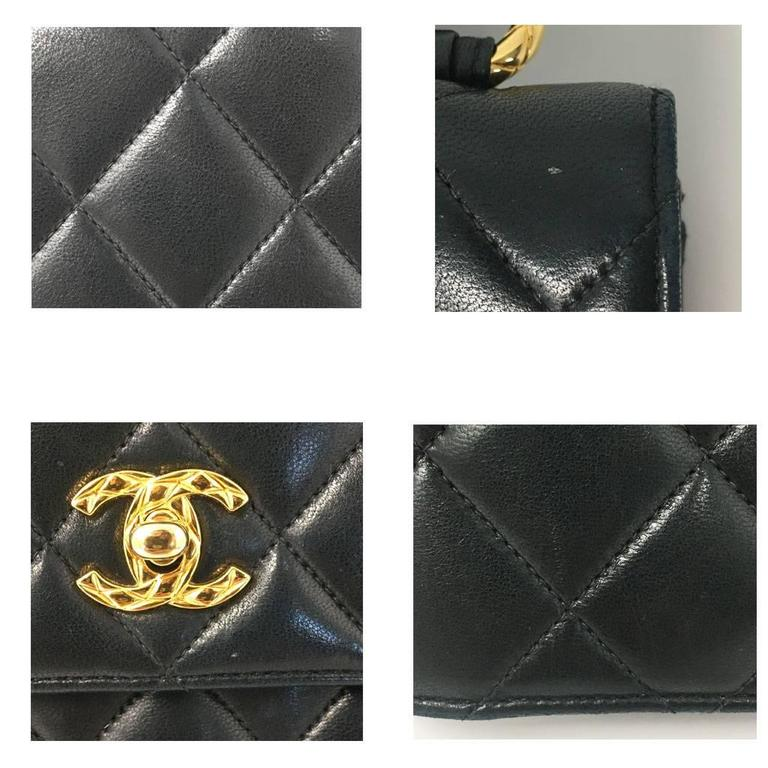 Chanel Black Lambskin Quilted Crossbody Vintage Bag with Quilted Leather Strap 7