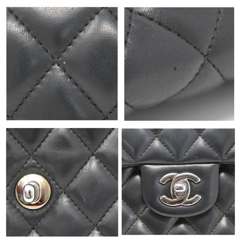 Chanel Black Lambskin Quilted Classic Flap Bag with Dust bag and Receipt 5