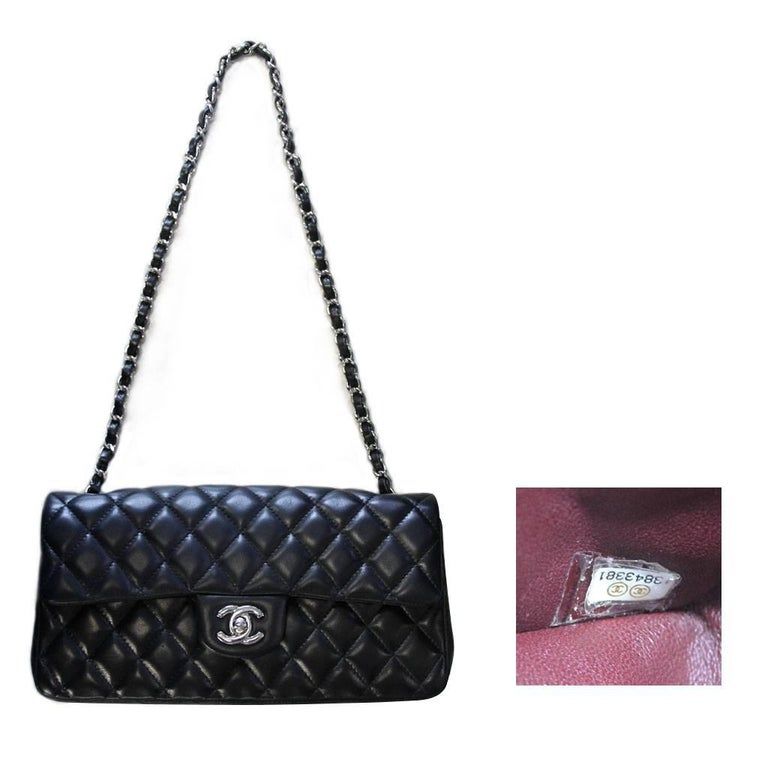 Chanel Black Lambskin Quilted Classic Flap Bag with Dust bag and Receipt 9