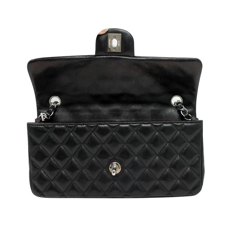 Chanel Black Lambskin Quilted Classic Flap Bag with Dust bag and Receipt 7