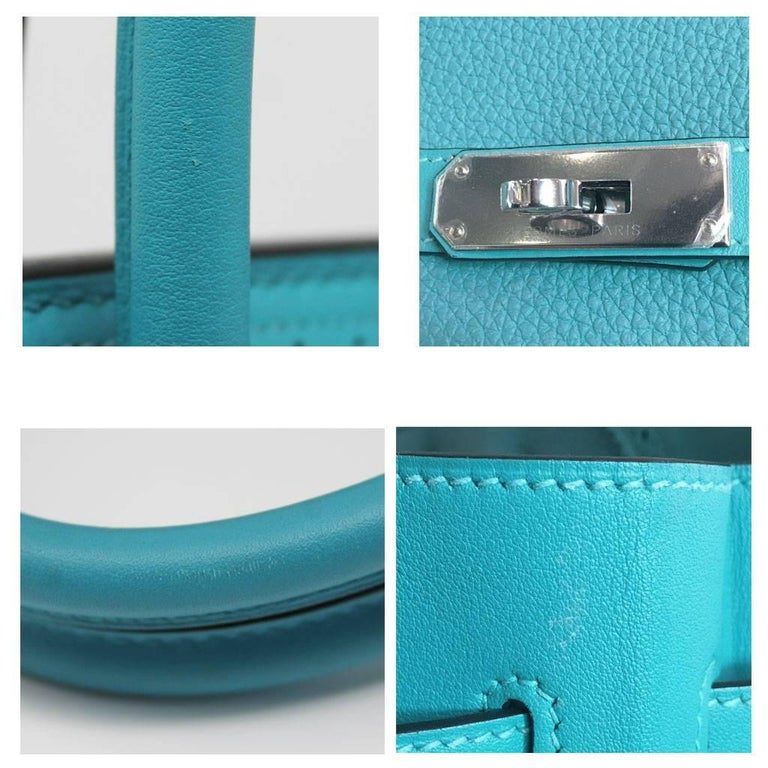 Hermes Birkin Ghillies Turquoise 35cm Togo Swift Leather 2015 Handbag For Sale 1