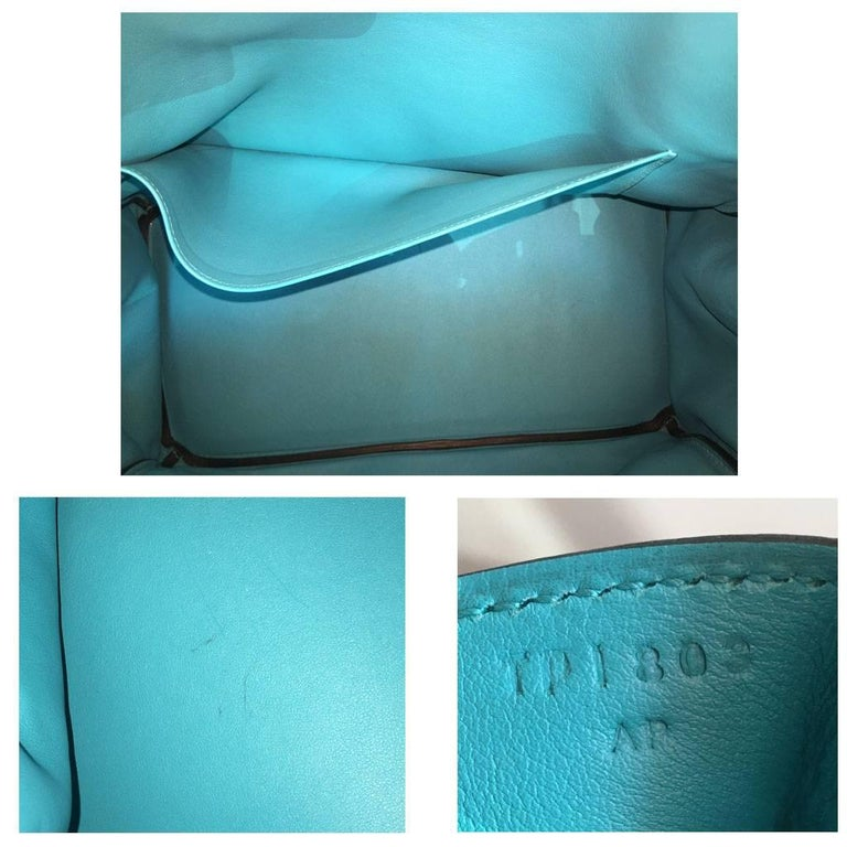 Hermes Birkin Ghillies Turquoise 35cm Togo Swift Leather 2015 Handbag For Sale 4