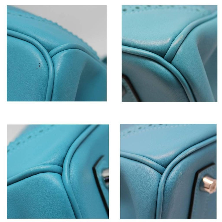 Women's Hermes Birkin Ghillies Turquoise 35cm Togo Swift Leather 2015 Handbag For Sale