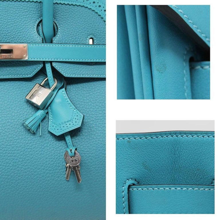 Hermes Birkin Ghillies Turquoise 35cm Togo Swift Leather 2015 Handbag For Sale 2