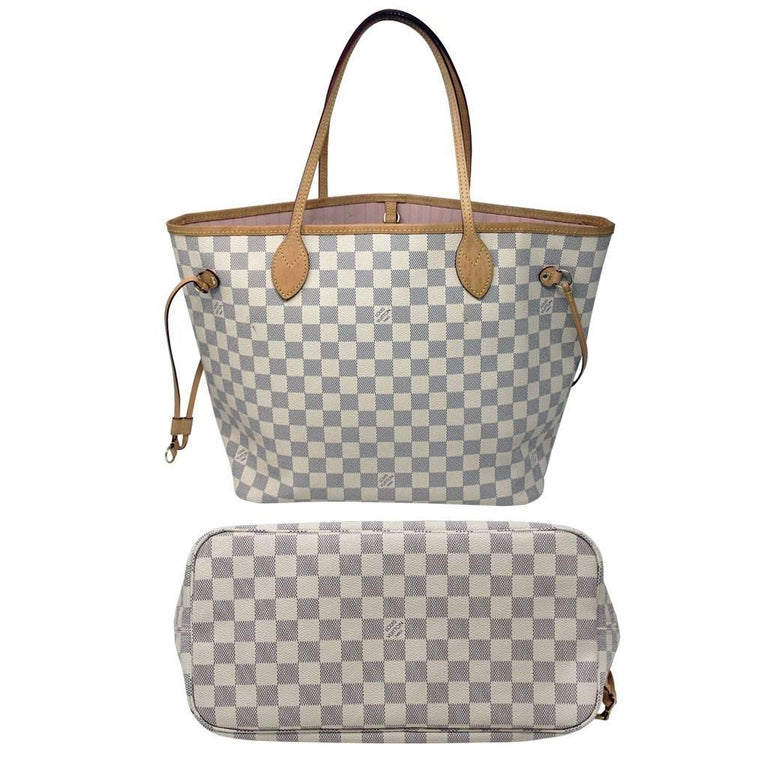 Gray Louis Vuitton Neverfull Mm Damier Azur W Pochette In Box With Receipt For