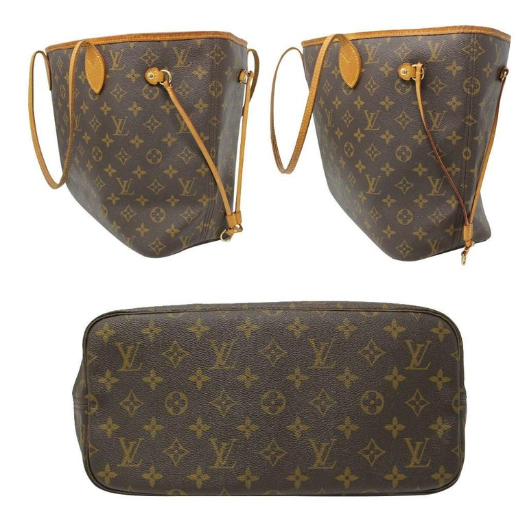 Brown Louis Vuitton Neverfull MM Monogram Canvas Tote Bag For Sale