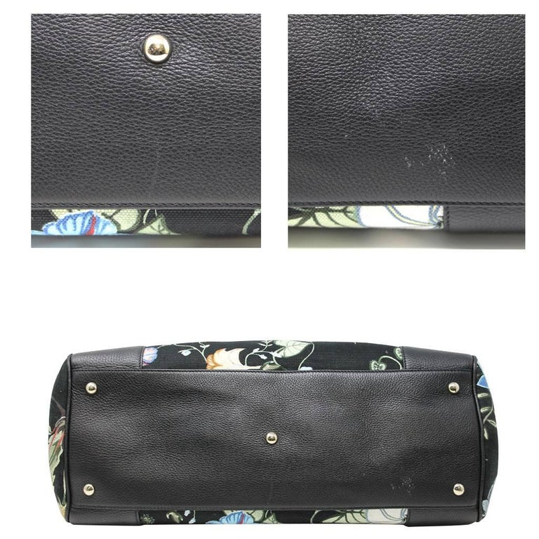 Women's or Men's Gucci Kris Knight Black Canvas Floral Bamboo Tote Handbag For Sale