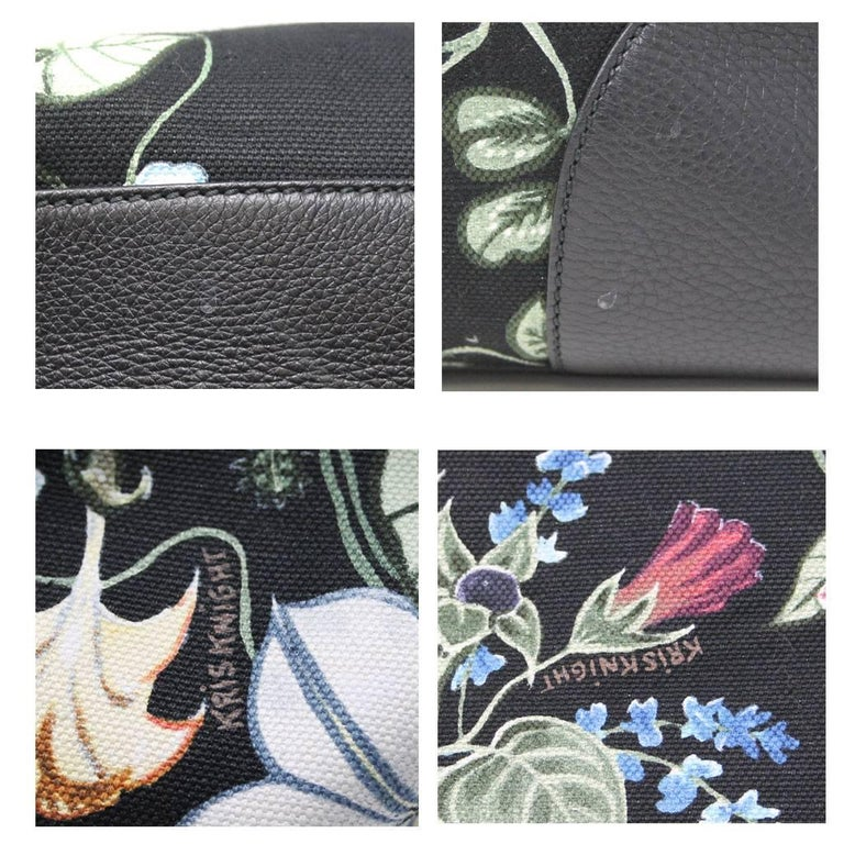 Gucci Kris Knight Black Canvas Floral Bamboo Tote Handbag For Sale 3