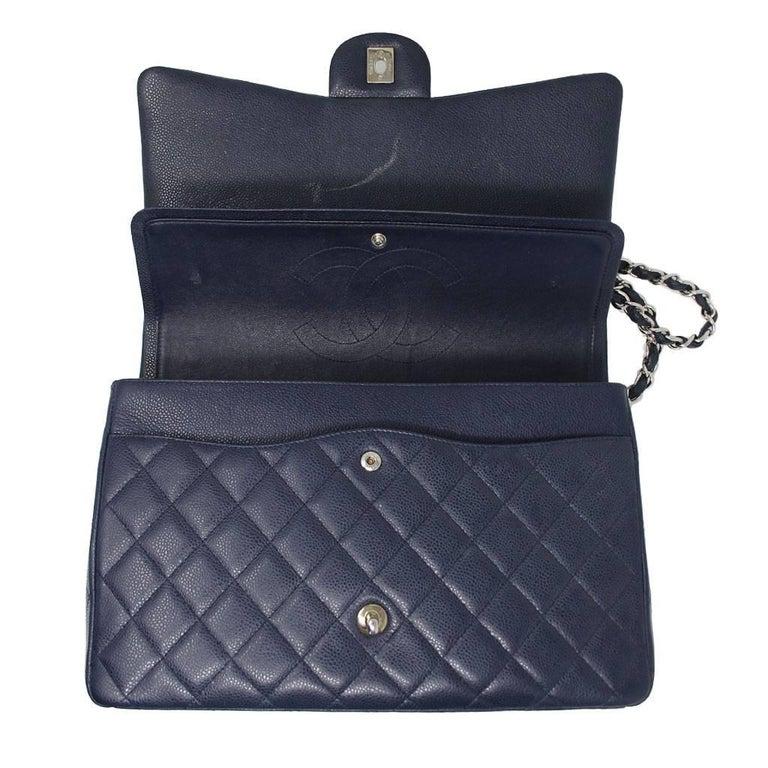 3218fe776ea96 Chanel Navy Blue Caviar Maxi Double Flap Handbag No 18 Shw