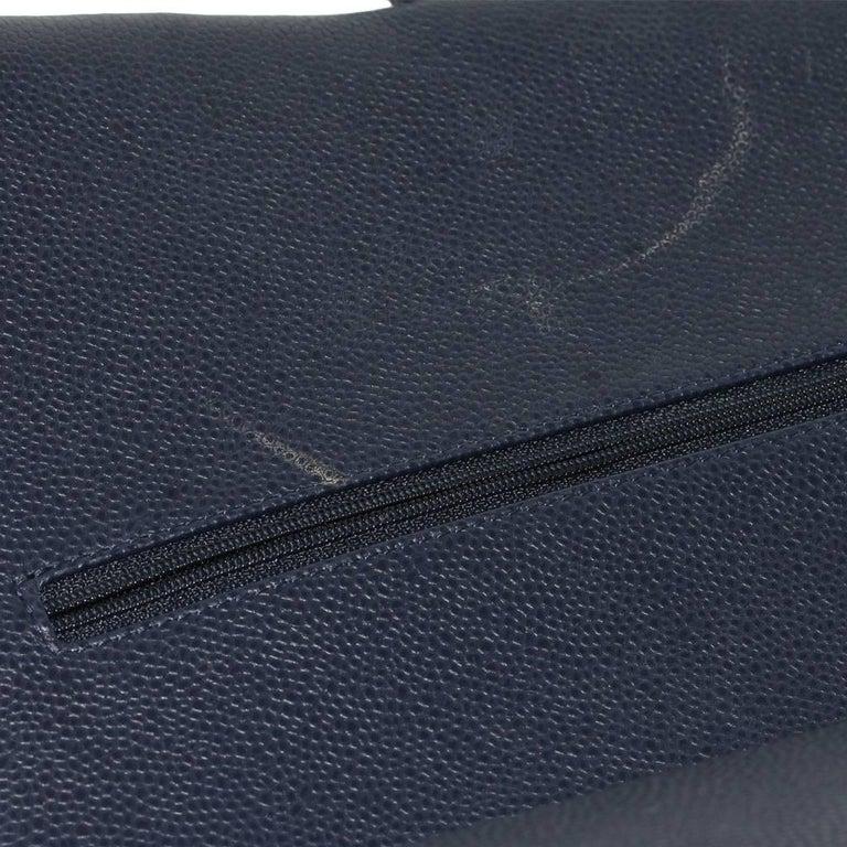Chanel Navy Blue Caviar Maxi Double Flap Handbag No. 18 SHW 4