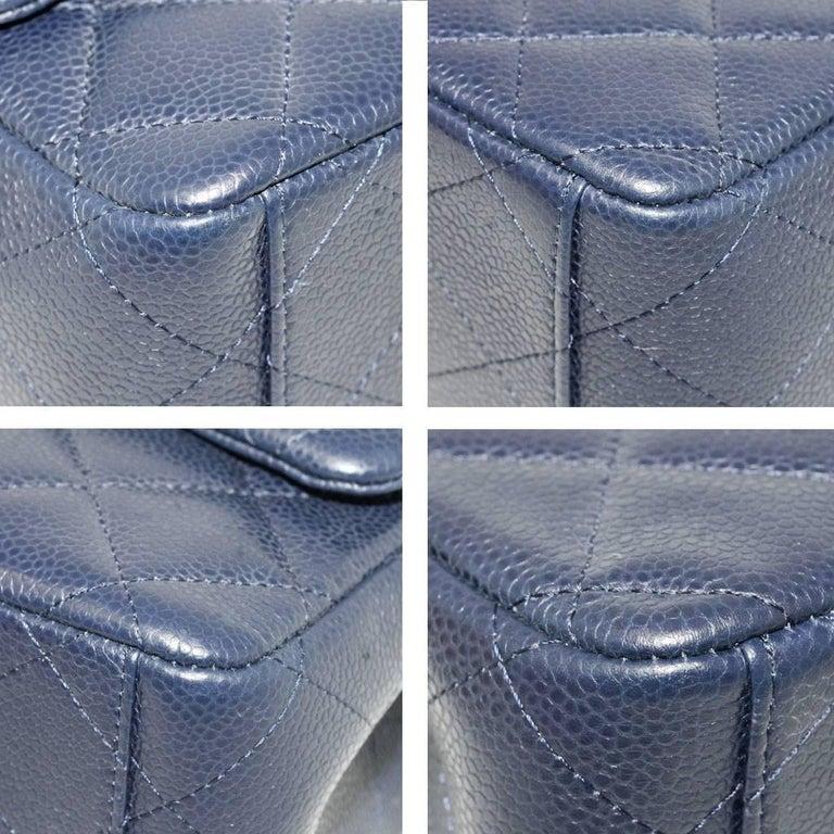 Chanel Navy Blue Caviar Maxi Double Flap Handbag No. 18 SHW 1