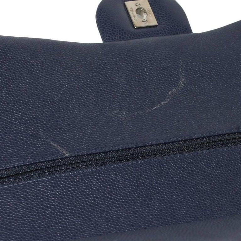 Chanel Navy Blue Caviar Maxi Double Flap Handbag No. 18 SHW 7