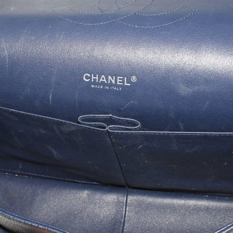 Chanel Navy Blue Caviar Maxi Double Flap Handbag No. 18 SHW 6