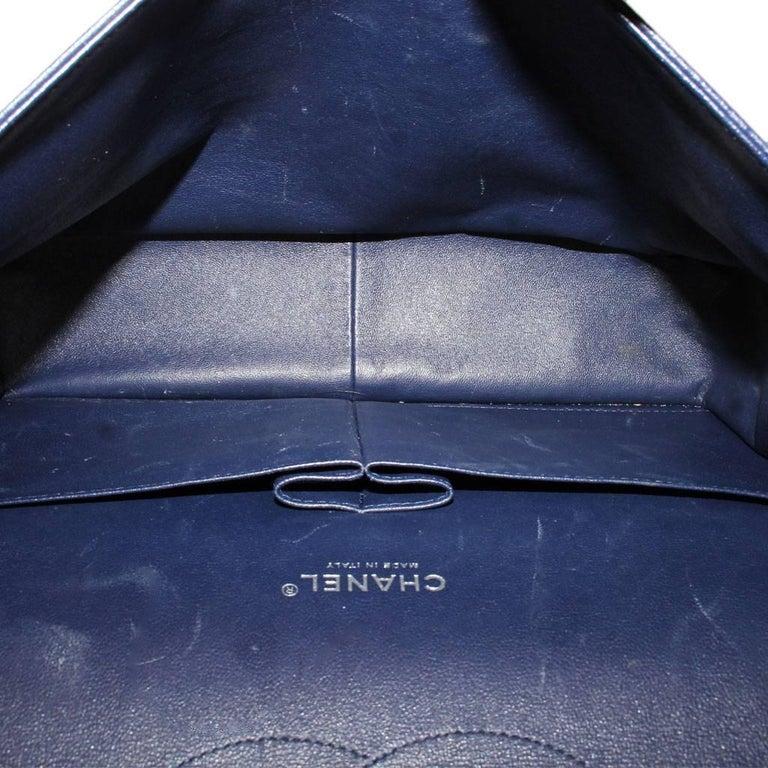 Chanel Navy Blue Caviar Maxi Double Flap Handbag No. 18 SHW 2