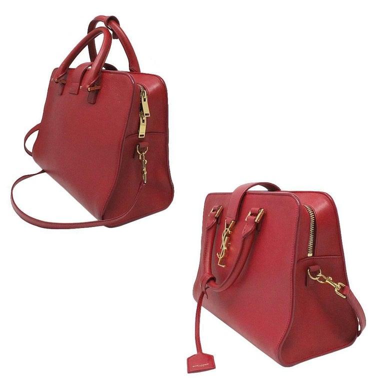 Yves Saint Laurent YSL Red Leather Gold Hardware Crossbody Handbag ... f038e0e1e9a47