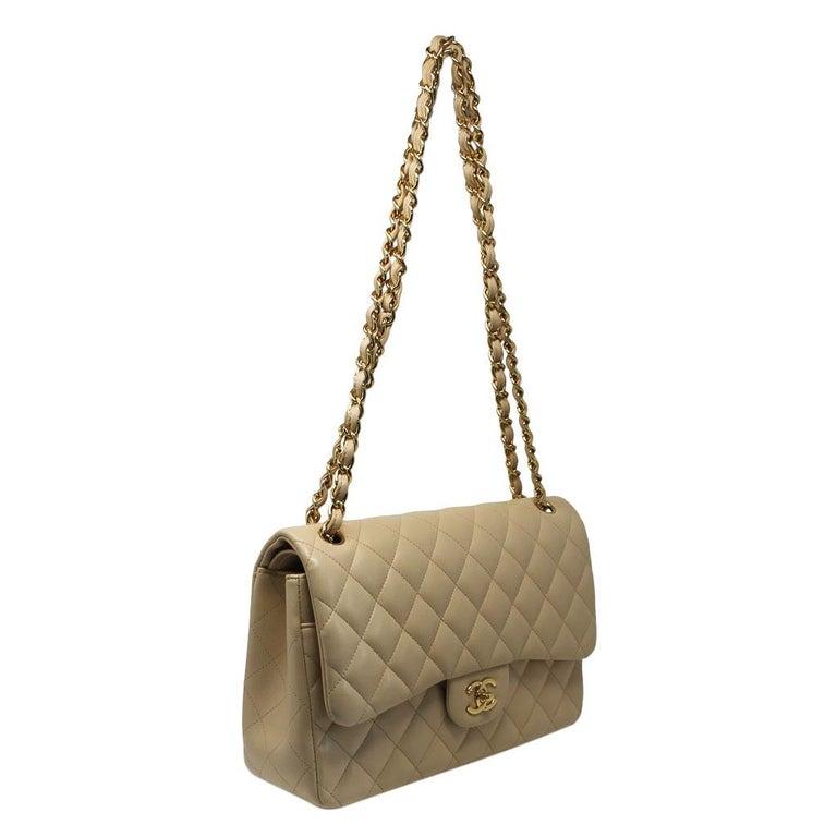 7dfaf5e1893266 Women's Chanel Jumbo Beige Lambskin Double Flap Bag GHW in Box For Sale