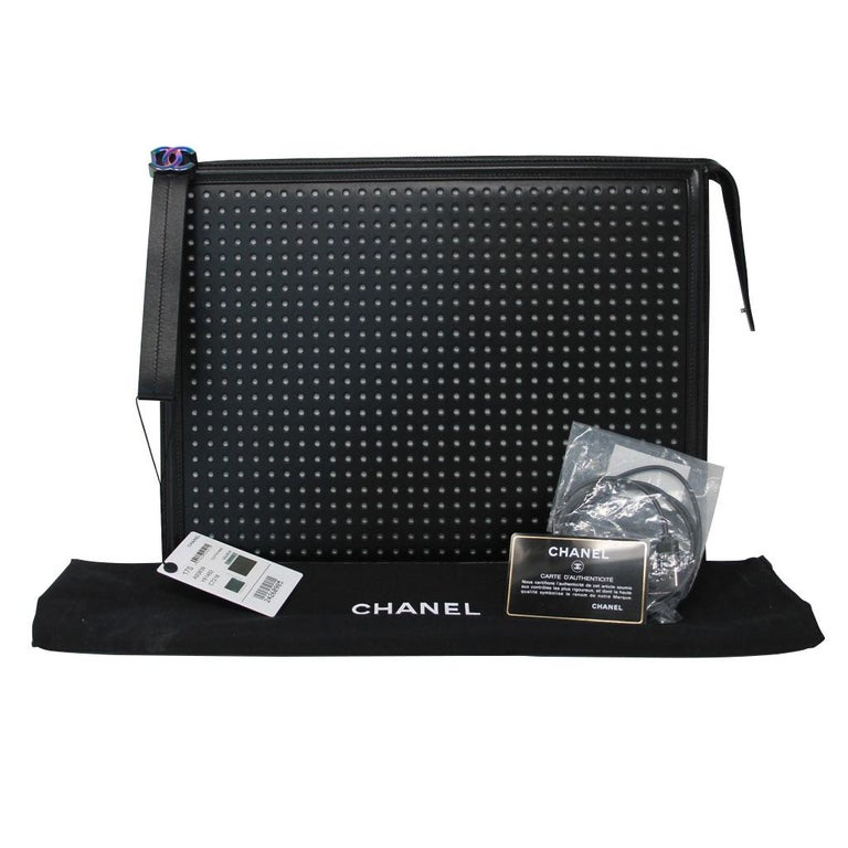 Chanel LED Boy Black Clutch No. 24 For Sale 5