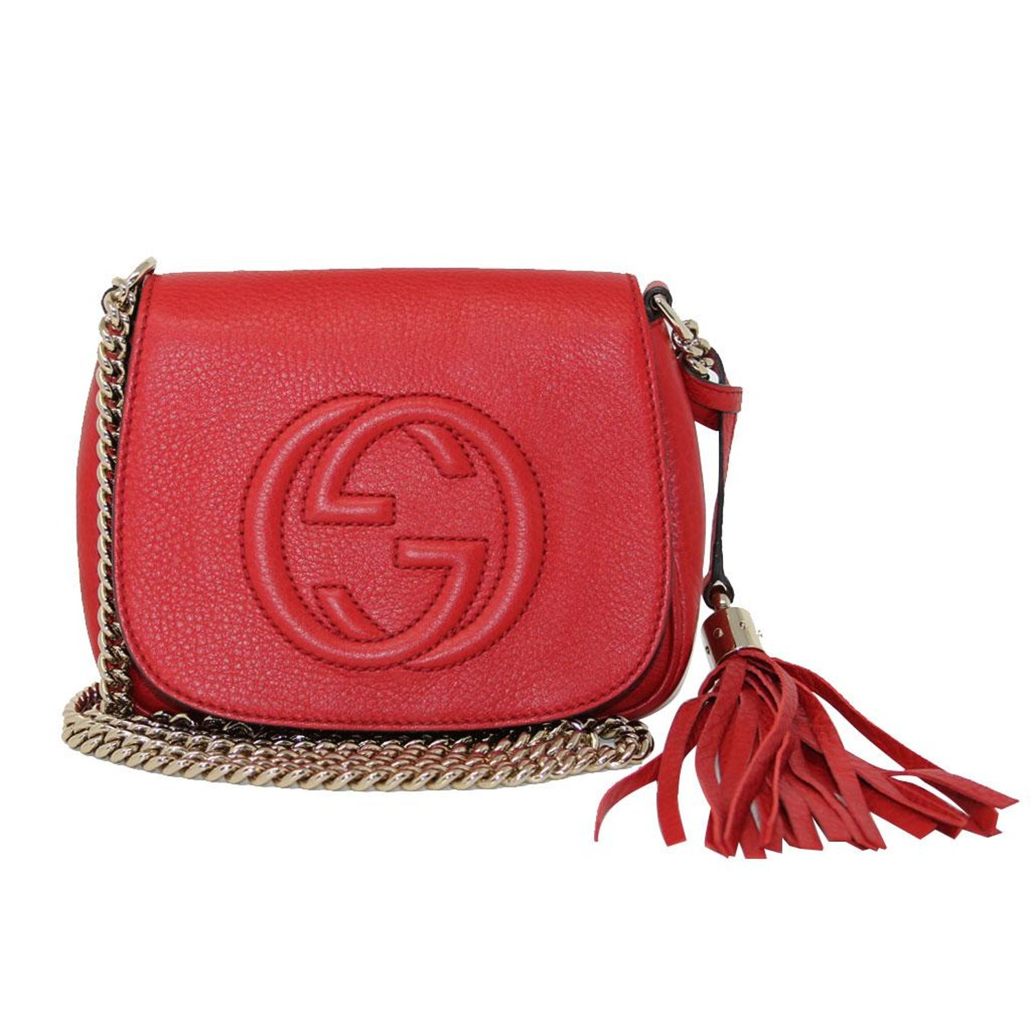 9fe3355f121 Gucci Soho Flap Red Leather Light Gold Chain w  Tassel Bag at 1stdibs