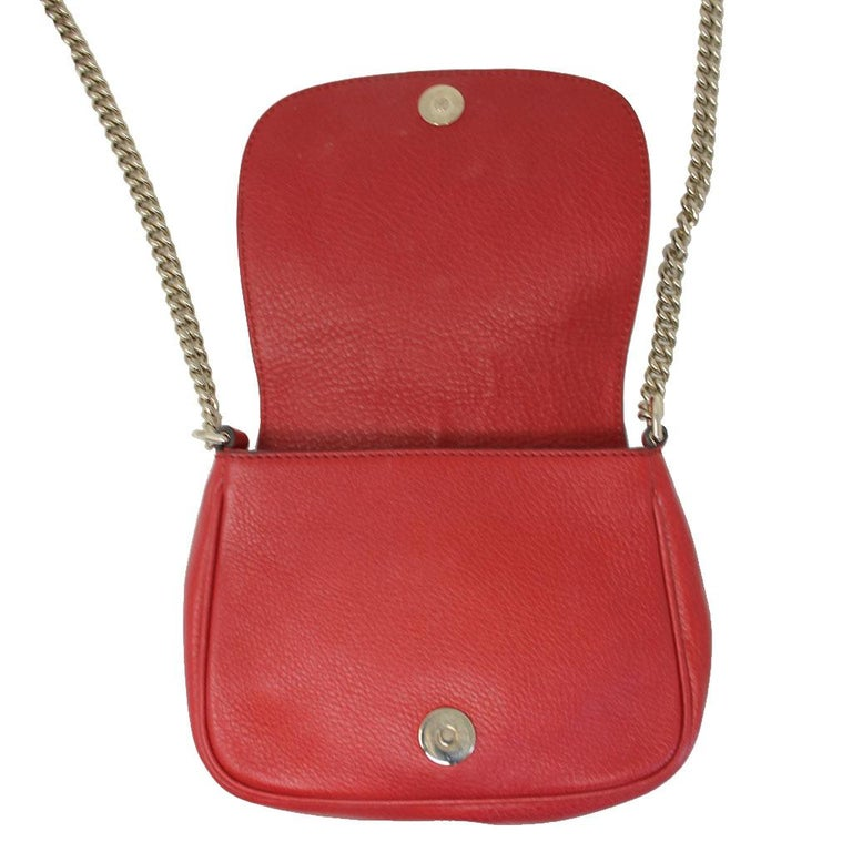 9537598109becd Gucci Soho Flap Red Leather Light Gold Chain w/ Tassel Bag For Sale 3