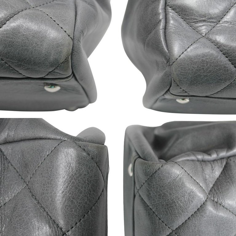 Chanel Black Resin Handle Grey Calfskin Leather Large Shopping Tote For Sale 2