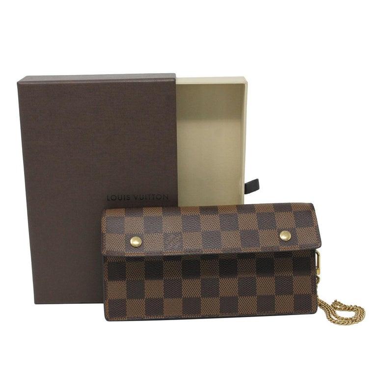 b944a93f9aed Louis Vuitton Damier Ebene Accordeon Clutch Chain Wallet With Box