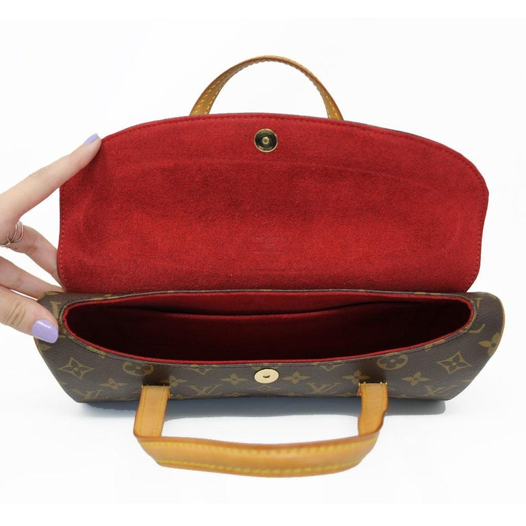 Authentic Louis Vuitton Sonatine Monogram Clutch Handbag For Sale 3