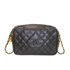 Chanel Black Caviar Gold Hardware Camera Shoulder Bag Purse in Box