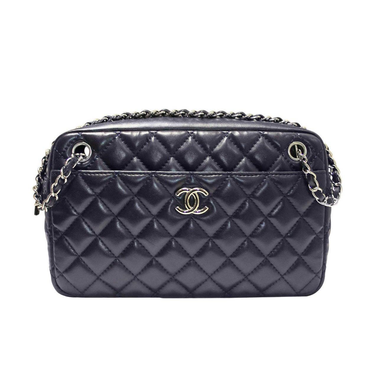 af5d1cf628a1 Chanel Navy Lambskin No. 12 Camera Bag Purse SHW Shoulder Bag at 1stdibs