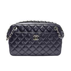 Chanel Navy Lambskin No. 12 Camera Bag Purse SHW Shoulder Bag