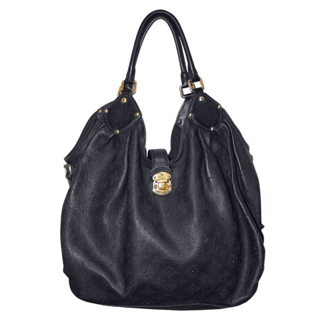 Louis Vuitton Black Mahina XL Leather Handbag Purse For Sale