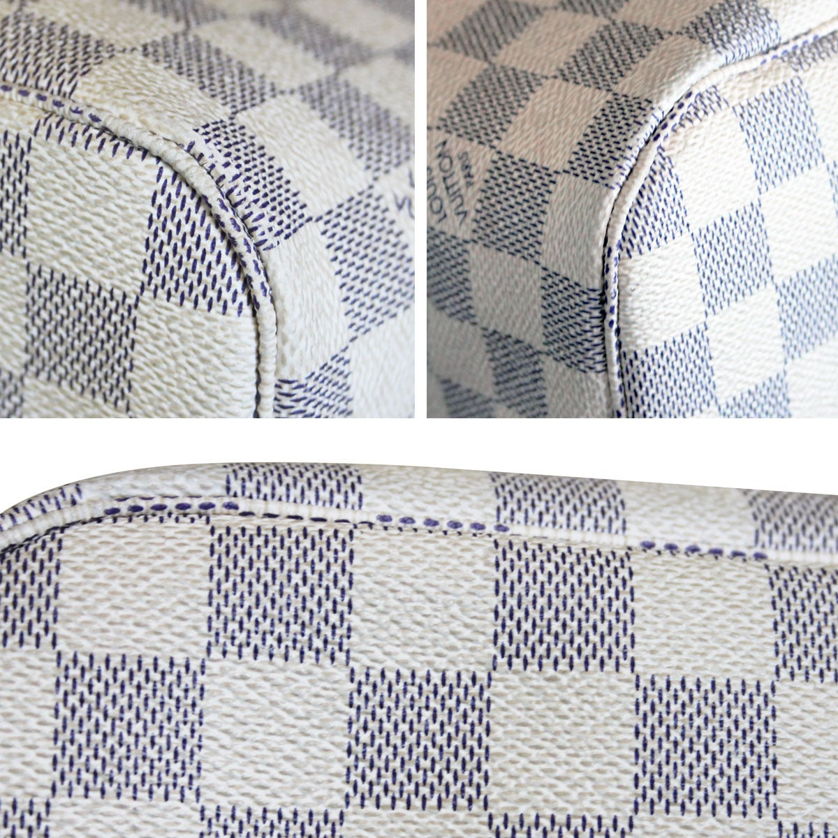 Louis Vuitton Neverfull MM Damier Azur Canvas Handbag Tote 5