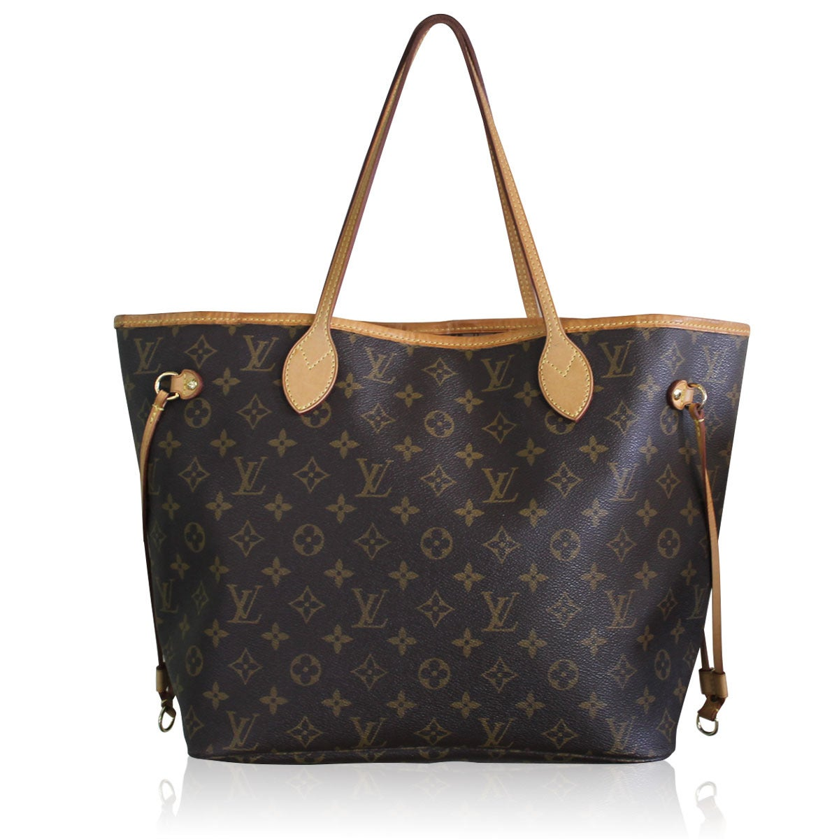 louis vuitton neverfull mm monogram. Louis Vuitton Neverfull MM Monogram Canvas Handbag Tote 3 Mm A
