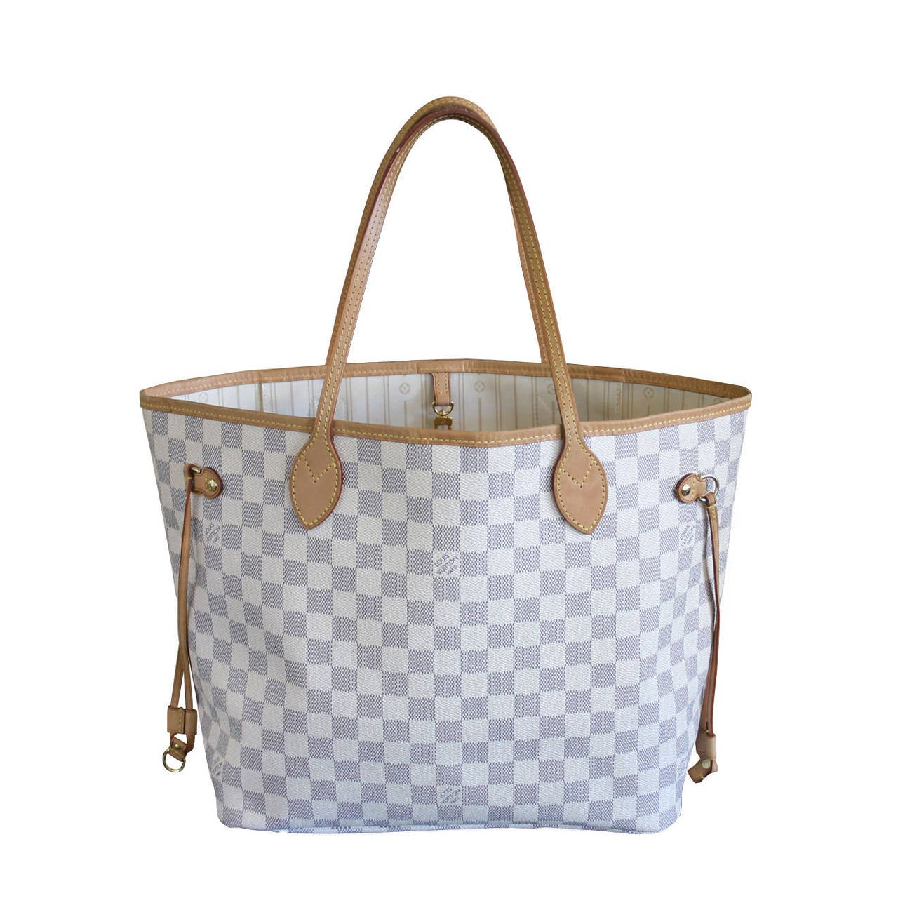 Louis Vuitton Neverfull MM Damier Azur Canvas Handbag Tote 1