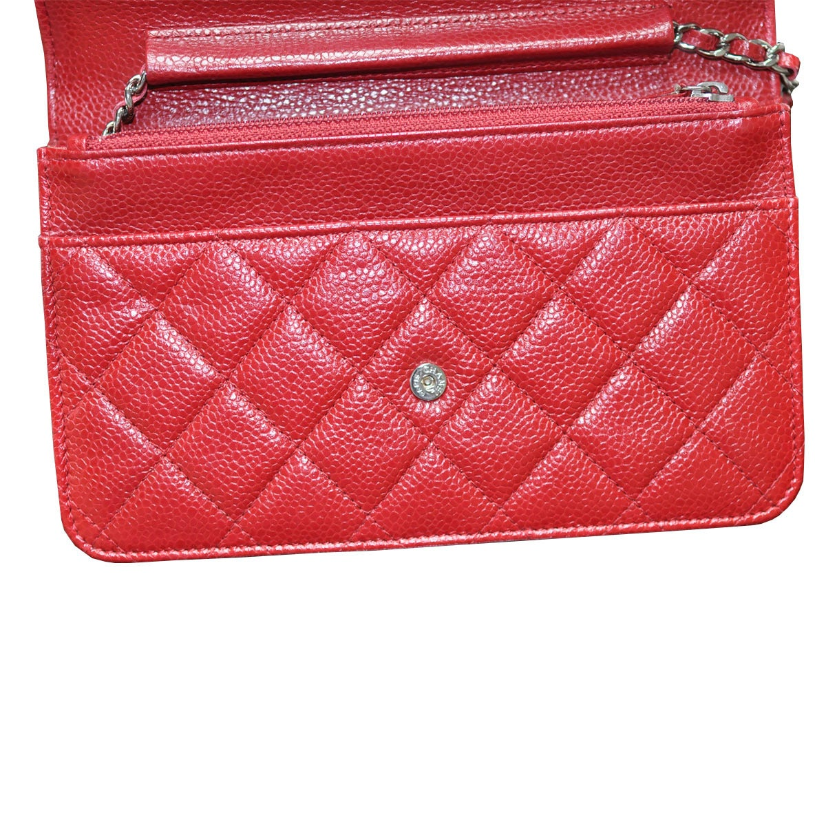 8f85c9d239a5dc Women's Chanel Red Caviar Leather WOC Wallet on Chain Silver Hardware  Handbag For Sale