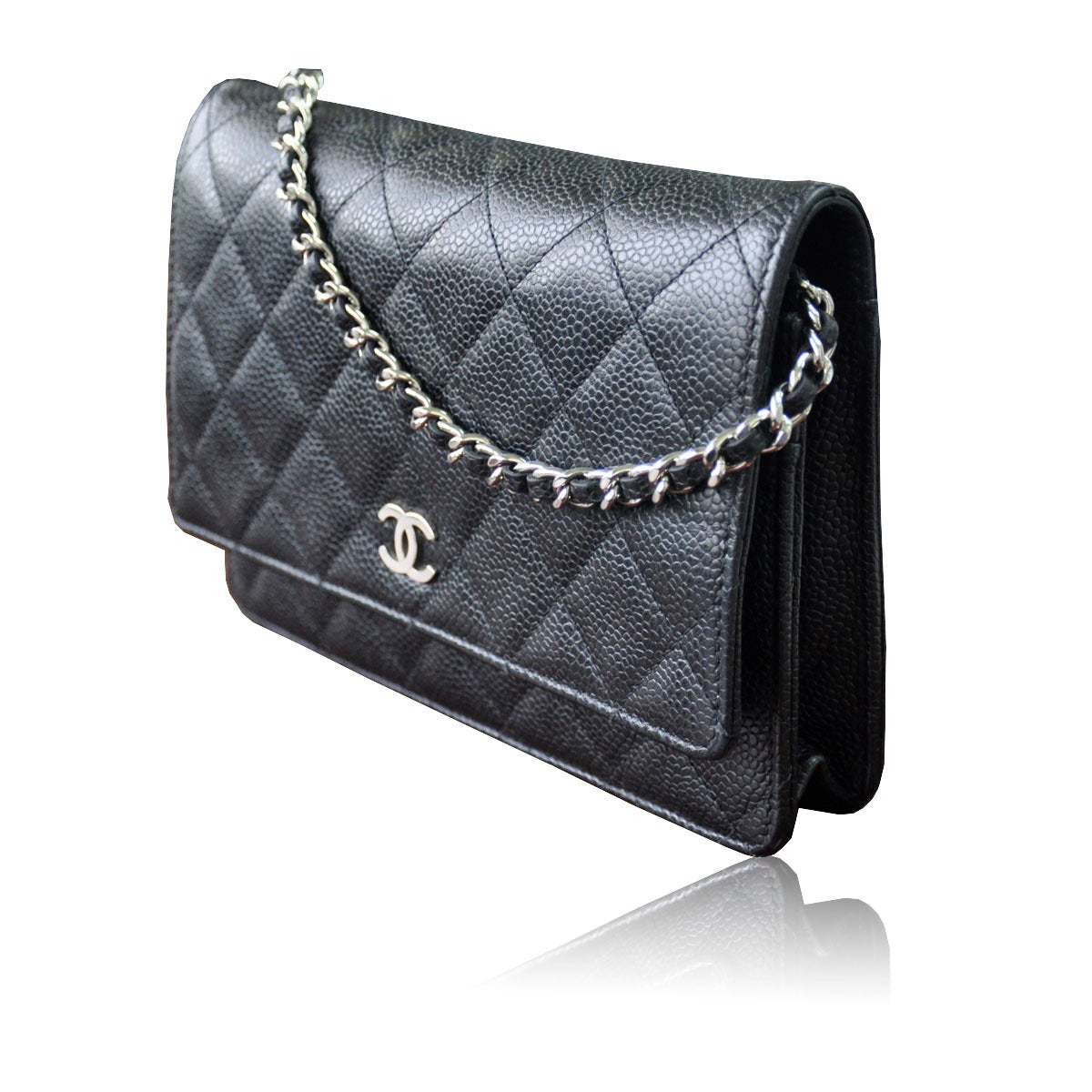 chanel woc wallet on chain black caviar leather crossbody