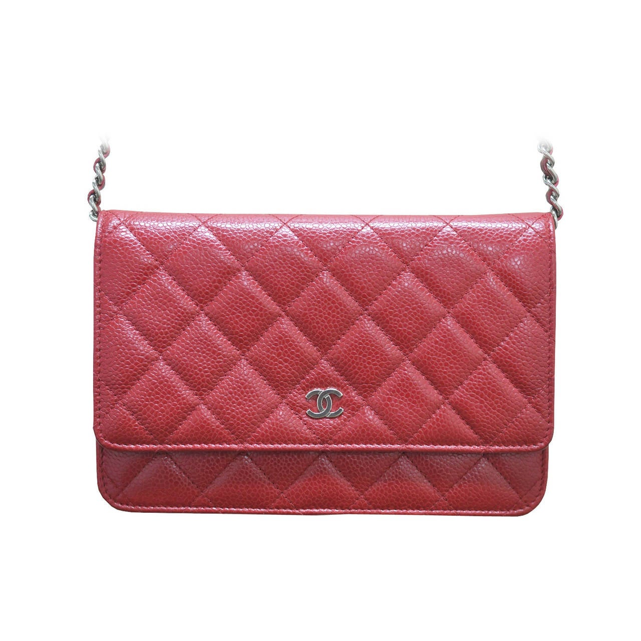 9f6994cb619f Chanel Red Caviar Leather WOC Wallet on Chain Silver Hardware Handbag For  Sale