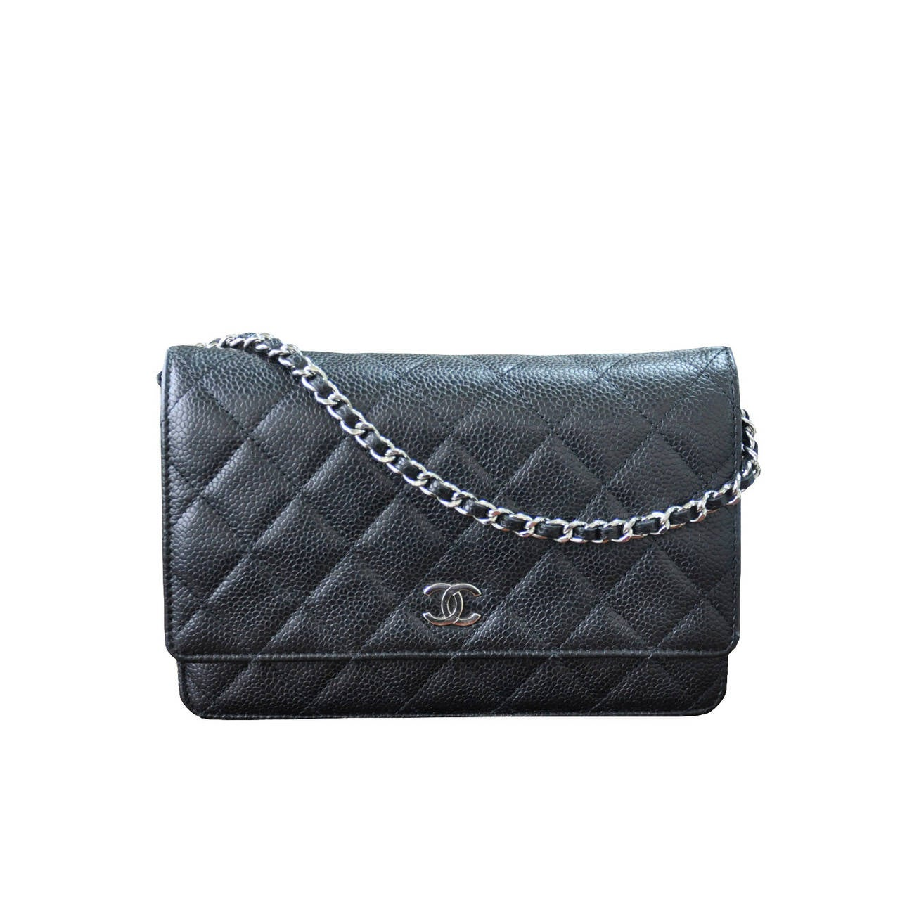 Chanel Woc Wallet On Chain Black Caviar Leather Crossbody Handbag For