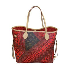 Louis Vuitton Neverfull MM Yayoi Kusama Pumpkin Red Waves Tote Bag