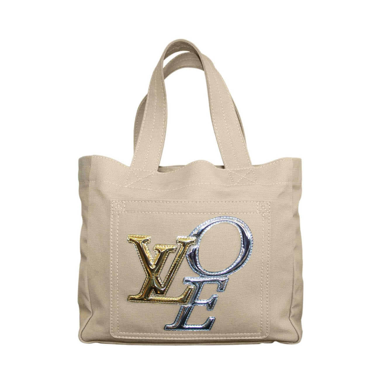 Louis Vuitton That S Love Canvas Metallic Pm Tote Bag For