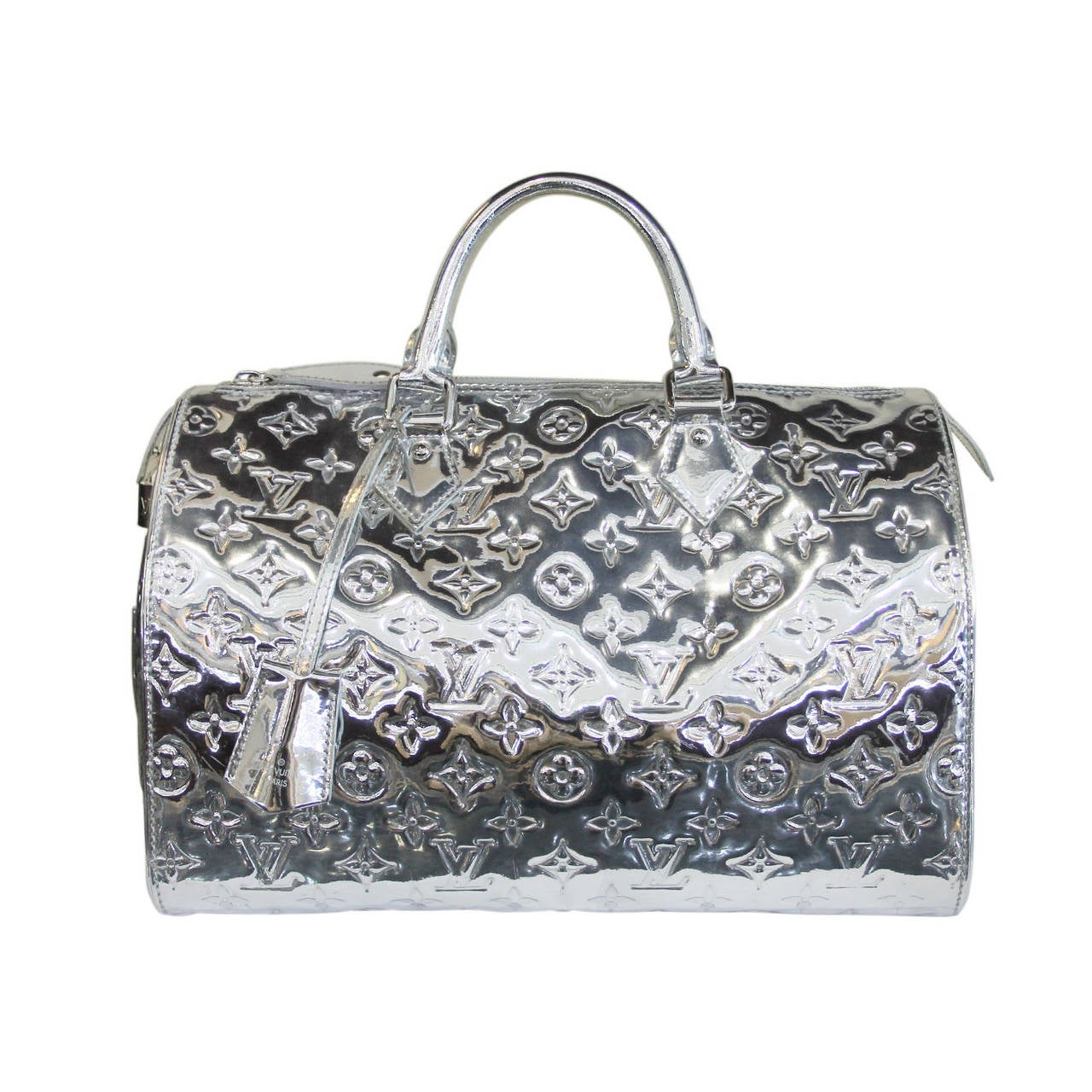 Louis vuitton speedy 30 silver monogram miroir handbag for Louis vuitton monogram miroir