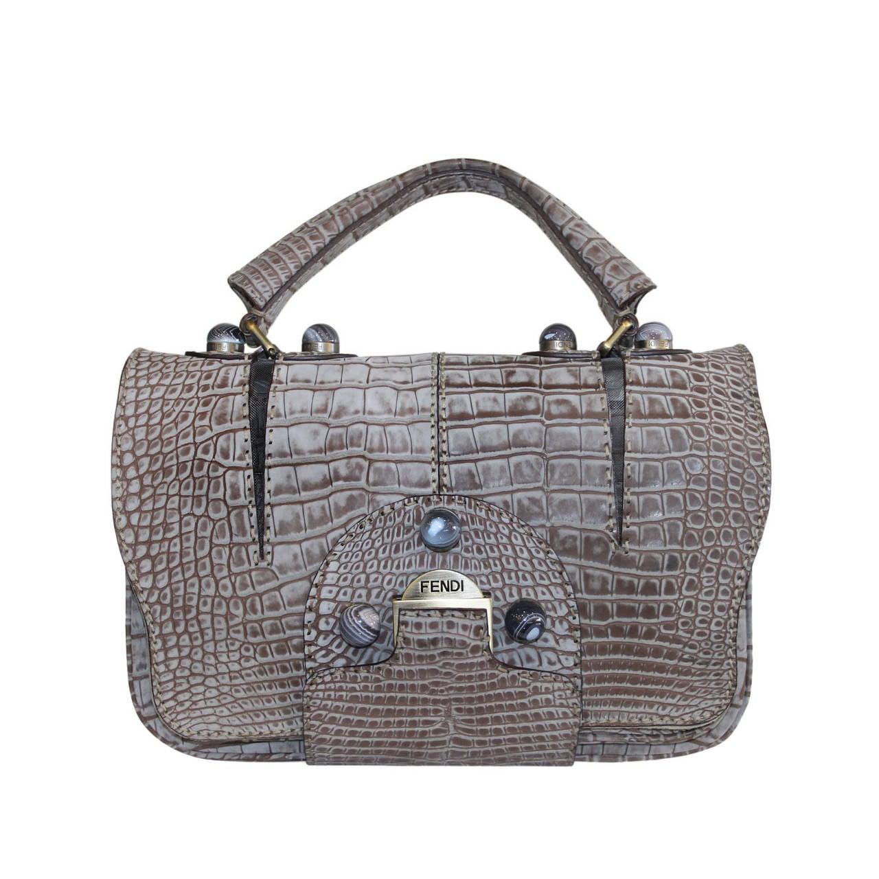 089365d88813 Fendi Rare Secret Code 8BN199 Gray Alligator Satchel Handbag Purse For Sale