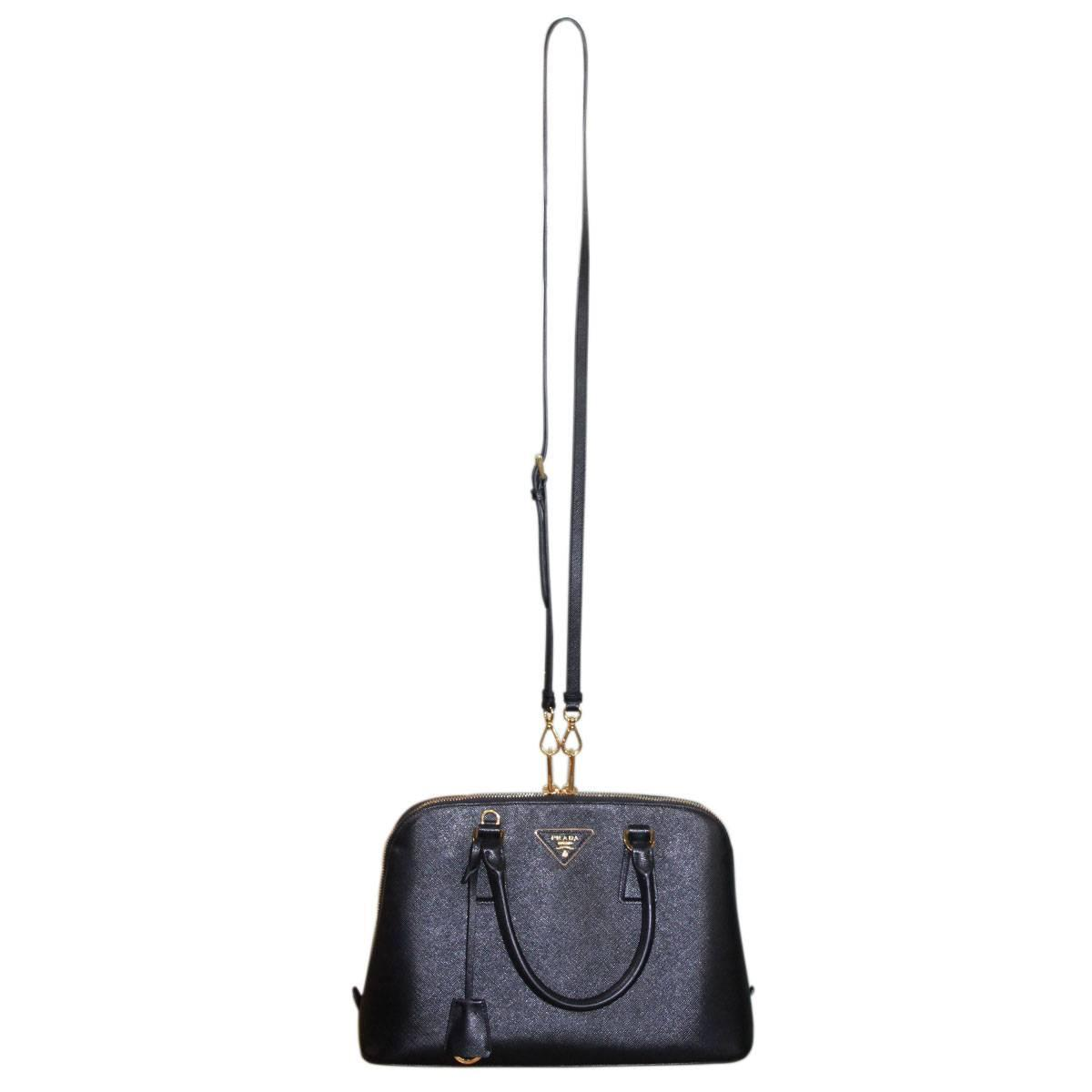 Prada Saffiano Black Leather Double Zip-Top Tote Shoulder Bag at ...