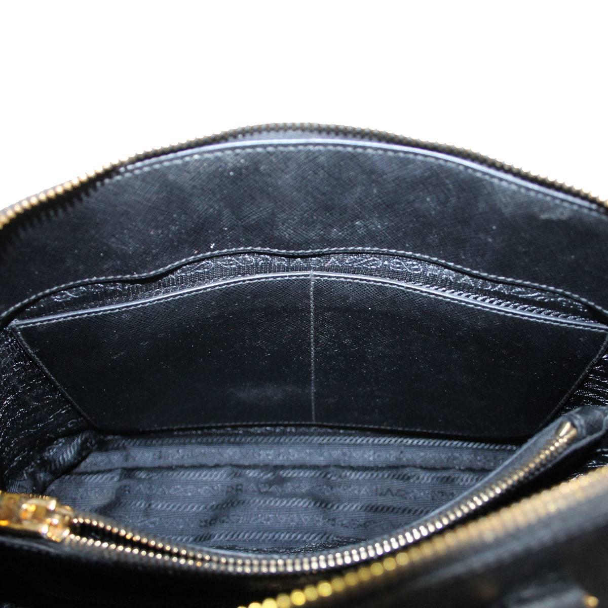 prada clutch black - Prada Saffiano Black Leather Double Zip-Top Tote Shoulder Bag at ...