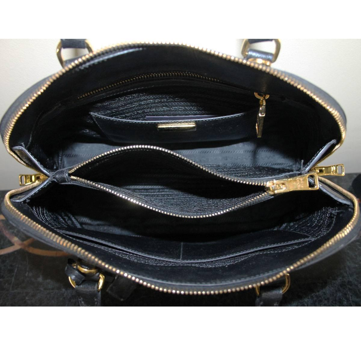 prada leather tote decorative side zippers